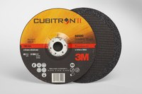 3M Cubitron II Standard (Type 27) Ceramic Aluminum Oxide Depressed-Center Wheel - 36 Grit - Very Coarse Grade - 7 in Diameter - 7/8 in Center Hole - 1/4 in Thick - 66590