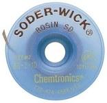 Chemtronics Soder-Wick #2 Yellow Rosin Flux Coating Desoldering Braid - 10 ft Length - 0.06 in Diameter - Rosin Flux Core - 80-2-10
