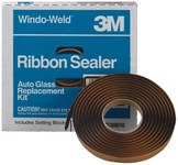 3M Windo-Weld 08621 Black Round Ribbon Sealer Tape - 5/16 in Width - Includes Setting Blocks For Windshield Installation