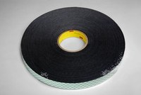 3M 4052 Black Foam Mounting Tape - 1/2 in Width x 72 yd Length - 1/32 in Thick - 14667
