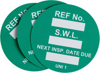 Brady Green Universal Tag Insert - Printed Text = SAFE WORK LOAD - UNI-UNI GREEN