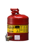 Justrite Red Steel 5 gal Safety Can - 16 7/8 in Height - 11 3/4 in Overall Diameter - 697841-14026