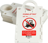 Brady Forkliftag FLT-ETSH9 Black / Red on White Rectangle Forklift Tag Holder - 6 in Width - 11 1/2 in Height - 14274