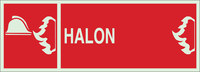 Brady Bradyglo B-347 Polyester / Polystyrene Rectangle Red IMO Fire Control Sign - 14 in Width x 5 in Height - Glow in the Dark - TEXT: HALON - 90994