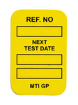 Brady Microtag Yellow Vinyl Micro Tag Insert - 1 1/4 in Width - 1 7/8 in Height - Printed Text = NEXT TEST DATE - MIC-MTIGP Y
