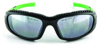 3M Safety Sunwear SS1514AS-B Polycarbonate Standard Safety Glasses Silver Mirror Lens - Black/Green Frame - Full Frame - 078371-65896