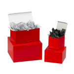 "Gift Boxes, 8"" x 8"" x 3 1/2"" Holiday Red - 100 PER CASE"