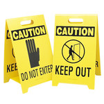 Brady B-836 Polypropylene Rectangle Yellow Floor Stand Sign - 12 in Width x 20 in Height - TEXT: CAUTION DO NOT ENTER - 92286