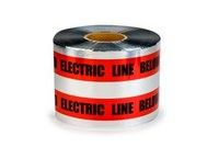 3M Scotch 408 Red Warning Tape - Pattern/Text = CAUTION BURIED ELECTRIC LINE BELOW - 6 in Width x 1000 ft Length - 5 mil Thick - 57781