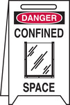 Brady Plastic Rectangle White Floor Stand Sign - 12 in Width x 20 in Height - 52392