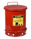 Justrite Red Steel 10 gal Safety Can - 18 1/4 in Height - 13 15/16 in Overall Diameter - 09300