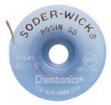 Chemtronics Soder-Wick #80 White Rosin Flux Core Desoldering Wick or Braid 80-1-10 - 10 ft Length - 0.03 in Diameter