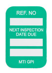 Brady Microtag Green Vinyl Micro Tag Insert - 1 1/4 in Width - 1 7/8 in Height - Printed Text = NEXT INSPECTION DUE DATE - MIC-MTIGPI G