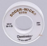 Chemtronics Soder-Wick #50 White Rosin Flux Core Desoldering Wick or Braid 50-1-25 - 25 ft Length - 0.03 in Diameter