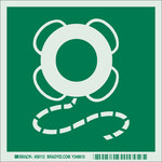 Brady Bradyglo B-324 Polyester Square Green IMO Evacuation Sign - 6 in Width x 6 in Height - Glow in the Dark - 59112