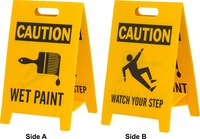 Brady B-836 Polypropylene Rectangle Yellow Floor Stand Sign - 12 in Width x 20 in Height - TEXT: CAUTION WET PAINT - 92283