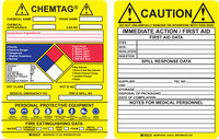 Brady Chemtag CHEM-CTI500 Black / Blue / Red / Yellow Vinyl Hazardous Substance Tag Insert - 7 5/8 in Width - 5 3/4 in Height - 14278