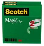 3M Scotch 810-2P12-72 Magic Clear Office Tape - 1/2 in Width x 2592 in Length - 02020