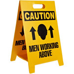 Brady B-836 Polypropylene Rectangle Yellow Floor Stand Sign - 12 in Width x 20 in Height - TEXT: CAUTION MEN WORKING ABOVE - 92285