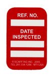 Brady Microtag Red Vinyl Micro Tag Insert - 1 1/4 in Width - 1 7/8 in Height - Printed Text = DATE INSPECTED - MIC-MTIUSA R