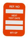 Brady Microtag Orange Vinyl Micro Tag Insert - 1 1/4 in Width - 1 7/8 in Height - Printed Text = NEXT TEST DATE - MIC-MTIGP O