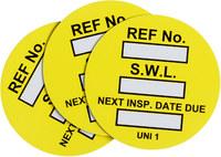 Brady Yellow Universal Tag Insert - Printed Text = SAFE WORK LOAD - UNI-UNI YELLOW