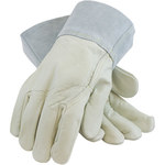 PIP 75-2022 Gray/Tan Medium Grain, Split Cowhide Leather Welding Glove - Wing Thumb - 11.5 in Length - 616314-10552