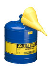 Justrite Blue Steel 5 gal Safety Can - 16 7/8 in Height - 11 3/4 in Overall Diameter - 697841-14037