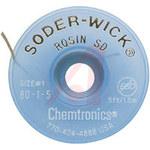Chemtronics Soder-Wick #80 White Rosin Flux Core Desoldering Wick or Braid 80-1-5 - 5 ft Length - 0.03 in Diameter