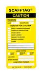 Brady Scafftag Yellow Scaffold Tag Insert - Printed Text = CAUTION - SCAF-STSI 602