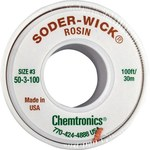 Chemtronics Soder-Wick #50 Green Rosin Flux Core Desoldering Wick or Braid 50-3-100 - 100 ft Length - 0.08 in Diameter