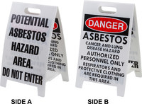 Brady B-836 Polypropylene Rectangle White Floor Stand Sign - 12 in Width x 20 in Height - TEXT: POTENTIAL ASBESTOS HAZARD AREA. DO NOT ENTER - 92288