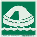 Brady Bradyglo B-324 Polyester Square Green IMO Evacuation Sign - 6 in Width x 6 in Height - Glow in the Dark - 59102