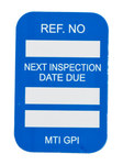 Brady Microtag Blue Vinyl Micro Tag Insert - 1 1/4 in Width - 1 7/8 in Height - Printed Text = NEXT INSPECTION DUE DATE - MIC-MTIGPI B
