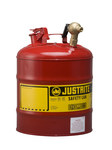 Justrite Red Steel 5 gal Safety Can - 15 7/8 in Height - 11 3/4 in Overall Diameter - 697841-14025