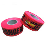 3M Scotch 331 Red Warning Tape - Pattern/Text = DANGER - 3 in Width x 1000 ft Length - 3 mil Thick - 58372