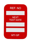 Brady Microtag Red Vinyl Micro Tag Insert - 1 1/4 in Width - 1 7/8 in Height - Printed Text = NEXT TEST DATE - MIC-MTIGP R