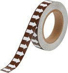 Brady B-946 White on Brown Directional Flow Arrow Tape - 1 in Width - 30 yd Length - 109928