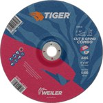 Weiler TIGER Standard (Type 27) Aluminum Oxide Cut & Grind Wheel - 30 Grit - 9 in Diameter - 7/8 in Center Hole - 1/8 in Thick - 57107