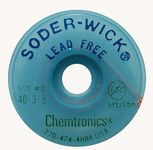 Chemtronics Soder-Wick #40 Blue No Clean Flux Core Desoldering Wick or Braid 40-4-5 - 5 ft Length - 0.11 in Diameter