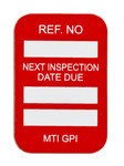 Brady Microtag Red Vinyl Micro Tag Insert - 1 1/4 in Width - 1 7/8 in Height - Printed Text = NEXT INSPECTION DUE DATE - MIC-MTIGPI R