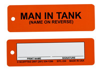 Brady Multitag Yellow Inspection Tag Insert - 6 1/2 in Width - 2 in Height - Printed Text = MAN IN TANK - MUL-EITL 230