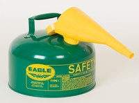Eagle Green Galvanized Steel 2 gal Safety Can - 9 1/2 in Height - 11 1/2 in Overall Diameter - 048441-00372