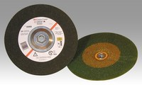 3M Green Corps Standard (Type 27) Ceramic Depressed-Center Wheel - 24 Grit - Very Coarse Grade - 4 in Diameter - 3/8 in Center Hole - 1/4 in Thick - 61010