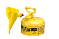 Justrite Yellow Steel 1 gal Safety Can - 11 in Height - 9 1/2 in Overall Diameter - 697841-13992