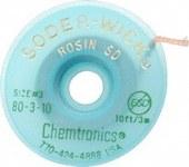 Chemtronics Soder-Wick #3 Green Rosin Flux Coating Desoldering Braid - 10 ft Length - 0.08 in Diameter - Rosin Flux Core - 80-3-10