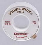 Chemtronics Soder-Wick #50 Red Rosin Flux Core Desoldering Wick or Braid 50-6-25 - 25 ft Length - 0.21 in Diameter