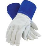 PIP 75-4854 Blue Small Grain, Split Goatskin Leather Welding Glove - Wing Thumb - 10.6 in Length - 616314-09204