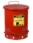 Justrite Red Steel 14 gal Safety Can - 20 1/4 in Height - 16 1/16 in Overall Diameter - 09500