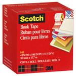 3M Scotch 845 Clear Book Tape Specialty Application Tape - 4 in Width x 15 yd Length - 07385